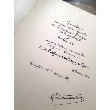 Généalogie de la Maison noble de Faucamberge (Orléanais) Lot de 2 livres manuscrits