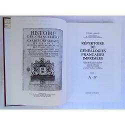 Répertoire des Généalogies Françaises Imprimées ARNAUD + 3 vol. + cd-rom