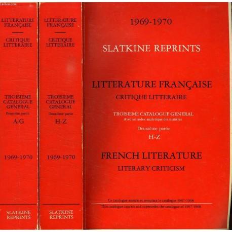 Slatkine Reprints Catalogue 1969-1970 Complet en 2 tomes