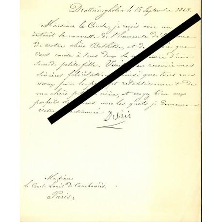 L.S.Désirée CLARY 1858 au Comte Louis de Cambaceres (Naissance de Léonie)